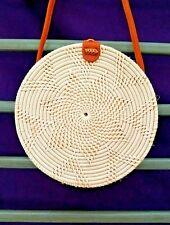 Rattan Boho Bali Handbag Off White Straw Wicker Cross-body Bag
