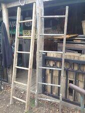 Antique Wood Ladder 5FT + Rustic Flowers Pots Pans Quilts primitive deco