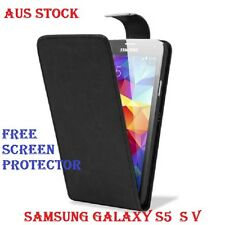 BLACK FLIP LEATHER CASE COVER FOR SAMSUNG GALAXY S3 / S4 / S5 / NOTE 3 FREE SP