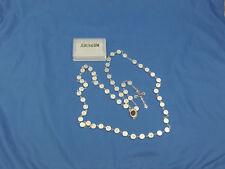 1st Communion Gift,White Glass Bead w/Cross Design Rosary w/Holyland Soil