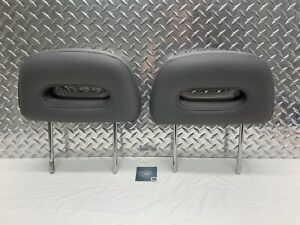 87-95 NISSAN PATHFINDER REAR SEAT 2ND ROW HEADREST SET HEAD RESTS GRAY LEATHER