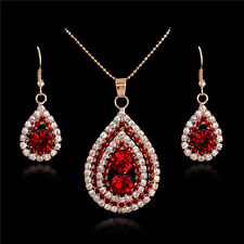 Gold Plated Elegant Crystal Choker Necklace Earring Dangle Drop Jewelry Set