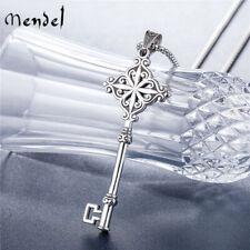 MENDEL Gothic Mens Stainless Steel Hip Hop Key Pendant Necklace Men Silver Chain