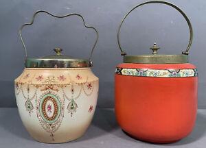 Lot (2) Antique ADAMS Style VICTORIAN Old PORCELAIN Flower ENGLISH BISCUIT JAR