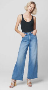 Blank NYC The Chrystie Cropped High Rise Wide Leg Denim Jeans Size 30 $98