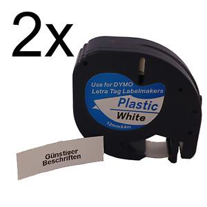 2x Dymo Letratag Band Kassette Etiketten (BLACK / WHITE PLASTIC) komp. 2p