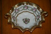 Nippon Porcelain Hand Painted Roses Double Handled Bowl Candy Dish Original Mark