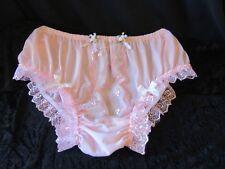 "Pink nylon féminine je sais Panties Full Bum Pink Tulle White Lace 24""/36"""