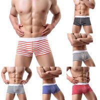Eg _ Hommes Rayé Taille Basse U Convexe Boxer Slip Élastique Sous-Vêtement Nov