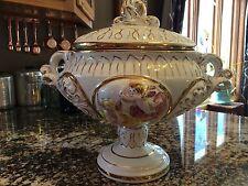 Vintage Keramos R. Capodimonte Pedestal Bowl and Lid Cherub Italy Soup Tureen