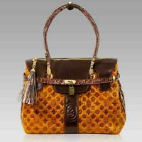 Marino Orlandi Designer Oversized Tote Purse Cognac Quilted Leather Satchel Bag