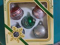 Vintage Glitter Pyramid Rauch Christmas Ornaments Lot of 5, made USA, w/Box