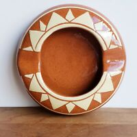 Pine Ridge Sioux Pottery geometric ash tray cream and terra cotta Olive Cottier