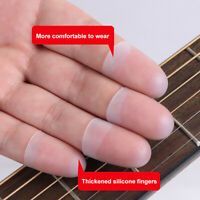 KQ_ 4Pcs Ultra-thin Guitar Fingertip Protector Silicone Finger Guard Cover Delic