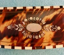 """Lovely Antique Snuff Box 3"""" x 1.25"""" x .875"""" Tortoise w Silver MOP Inlay"""