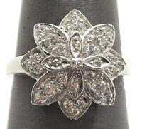 Sterling Silver Cubic Zirconia CZ Cluster Flower Floral Elegant Cocktail Ring 7