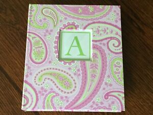 """Pink Paisley Hard Cover Address Book w/Interchangeable """"Initial"""" Front Cover"""