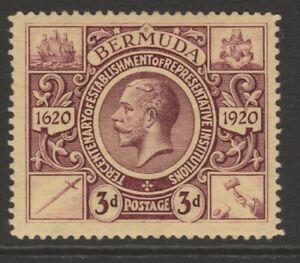 Bermuda MINT GV 1921 3d purple on pale yellow Tercentenary 2nd issue sg70