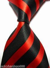 New Classic Stripes Red Black JACQUARD WOVEN 100% Silk Men's Tie Necktie