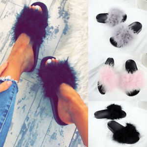 Womens Fur Fluffy Sliders Sandals Flat Comfy Slides Slippers Casual Cool Shoes A