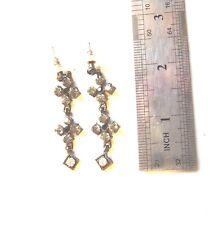 Earings Pierced Ears Long Drop Gothic Style Dark Stones