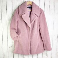 NWT French Connection Large L Faux Shearling Dusty Rose Teddy Coat  Retail $180