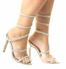 Womens Stiletto Diamante Ankle High Heel Court Sandals Shoes Black Gold Silver