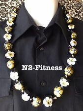 Hawaii Wedding Hibiscus Kukui Nut Lei Graduation Luau Necklace GOLD WHITE