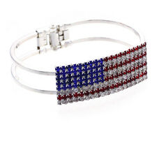4th of July USA American Flag Patriotic Design Red Blue Bangle Cuff Bracelet