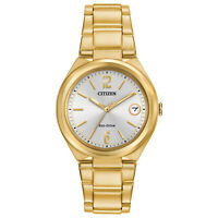 Citizen Eco-Drive Women's Chandler Date Calendar Gold-Tone 34mm Watch FE6022-85A
