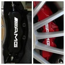 8 pc set White AMG Brake Caliper Vinyl Sticker Decals Logo Overlay Mercedes Benz