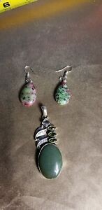 Beautiful Vintage Sterling Silver Pink Green Tourmaline Pendant And Earrings Set
