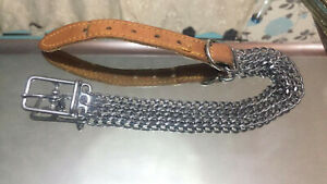 QUALITY VINTAGE SILVER CHAIN AND TAN BROWN LEATHER BUCKLE Collar