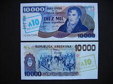 Argentina 10 australes on 10000 pesos argentinos 1985 (p322c) UNC