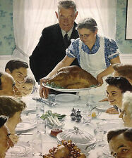 20x24 Norman Rockwell Freedom from Want Luster Print Family Thanksgiving Dinner