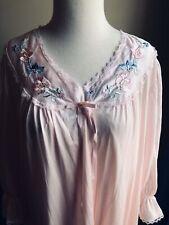 Vintage Peignoir Gown Robe Set Antron Nylon Lorraine Pink Embroidery M L