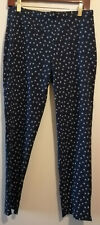 ORVIS floral navy blue all day slim stretch ankle trousers UK size 12 - 14