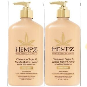 Hempz CINNAMON SUGAR & VANILLA BUTTER Herbal Body Moisturizer 17 OZ (Set Of 2)