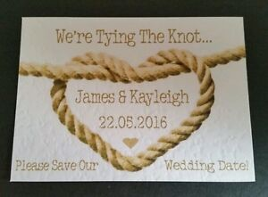 16 Tying The Knot BEACH THEME/NAUTICAL Save The Date Cards - Magnetic Option