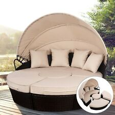 Outdoor Retractable Rattan Patio Sofa Bed Furniture Set Round Canopy Daybed US
