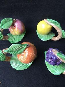 Fitz & Floyd Napkin Ring Holders Set Of 8 ! 2/EA Apple Orange Grape Lemon 1990FF