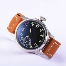 Parnis Pilot Style SeaGull 3600 Hand Winding Men Wrist Watch Brown Leather Strap