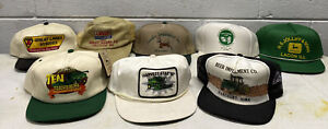 Vintage John Deere Hats Tractor Farming Agriculture Farm Equipment Gas Oil