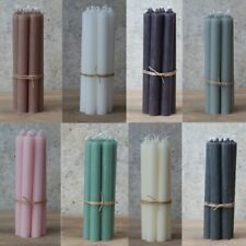 8 Rustic Dinner Candles Pink Grey Green Ivory Purple White Flax Coal Asst Colour
