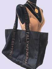 Fendi Authentic Vintage Logo FF Nylon Canvas XXL Tote Bag Black Brown Rare