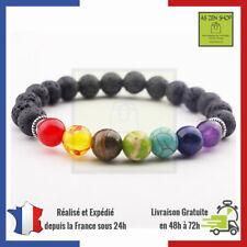 Bracelet Guérison Des 7 Chakras En Pierres De Lave Lithothérapie Perle Naturelle