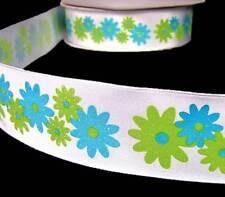 "5 Yards Aqua Blue Green Glitter Flowers Wired Ribbon 1 1/2""W"