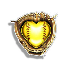 Softball Heart Sticker Fast Pitch Pitcher Soft Ball Cup Car Window Bumper Decal