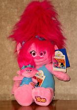Build a Bear Poppy Troll Doll with Matching Mini Backpack Clip Plush Teddy Set