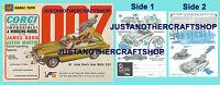 Corgi Toys 261 James Bond Aston Martin Instruction Leaflet & Poster Shop Sign